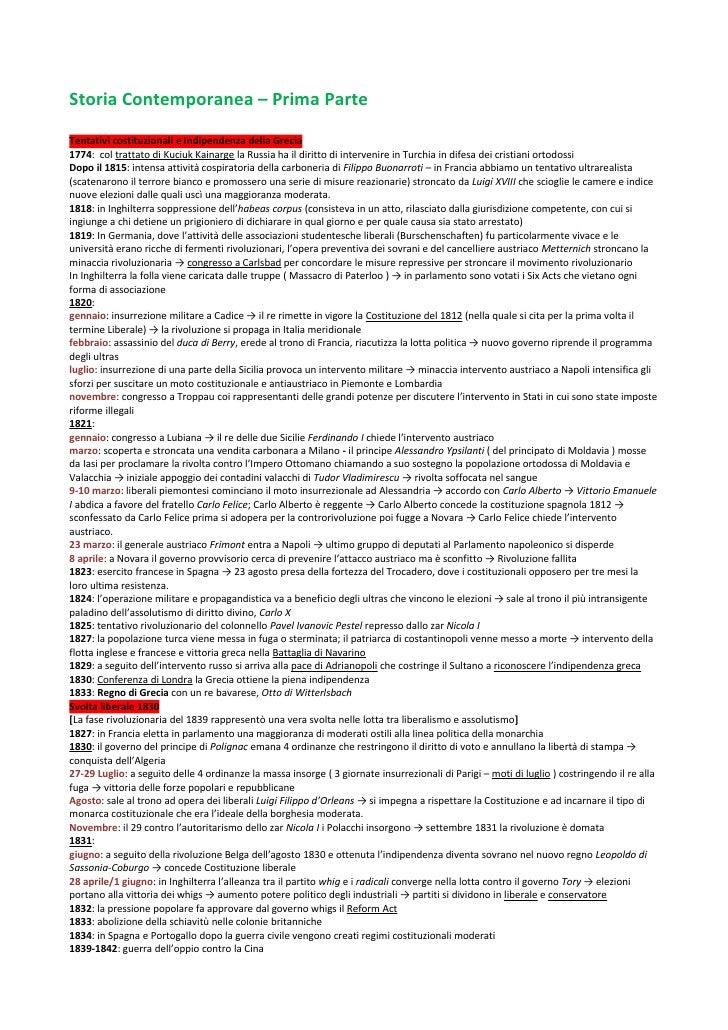 Storia Contemporanea – Prima ParteTentativi costituzionali e Indipendenza della Grecia1774: col trattato di Kuciuk Kainarg...