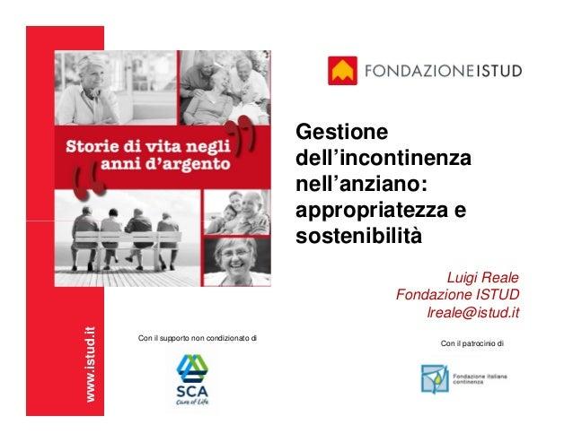 Gestione dell'incontinenza nell'anziano: appropriatezza e  sostenibilità