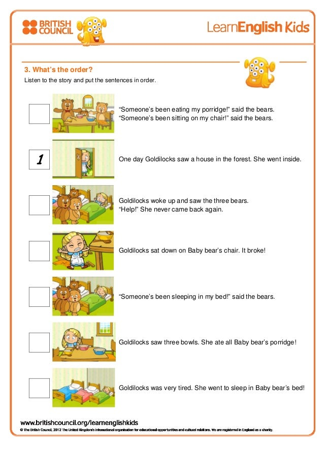 goldilocks and the three bears (worksheet)