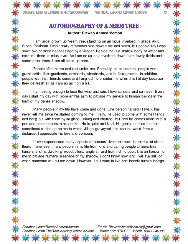 Hindi essay on trees autobiography (English>Hindi) - MyMemory