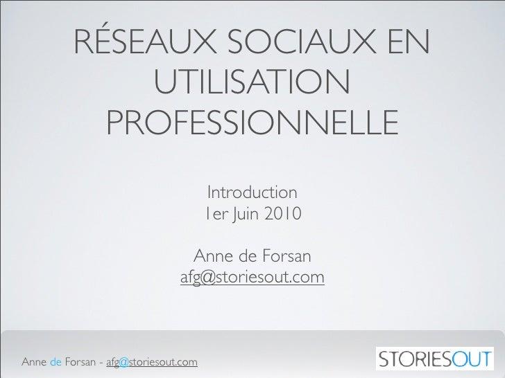 RÉSEAUX SOCIAUX EN               UTILISATION             PROFESSIONNELLE                                       Introductio...