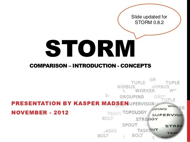Slide updated for                                   STORM 0.8.2        STORM    COMPARISON – INTRODUCTION - CONCEPTSPRESEN...