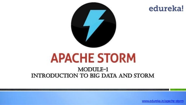 Module-1 Introduction to Big Data and STORM www.edureka.in/apache-storm