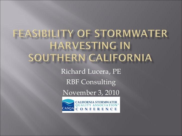 Richard Lucera, PE RBF Consulting November 3, 2010