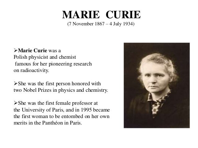 marie curie short biography Curie died in savoy, france, after a short illness, on july 4, 1934 from nobel lectures , physics 1901-1921 , elsevier publishing company, amsterdam, 1967 this autobiography/biography was written at the time of the award and first published in the book series les prix nobel.