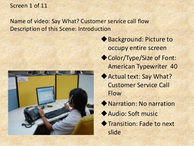 Screen 1 of 11 Name of video: Say What? Customer service call flow Description of this Scene: Introduction Background: Pi...