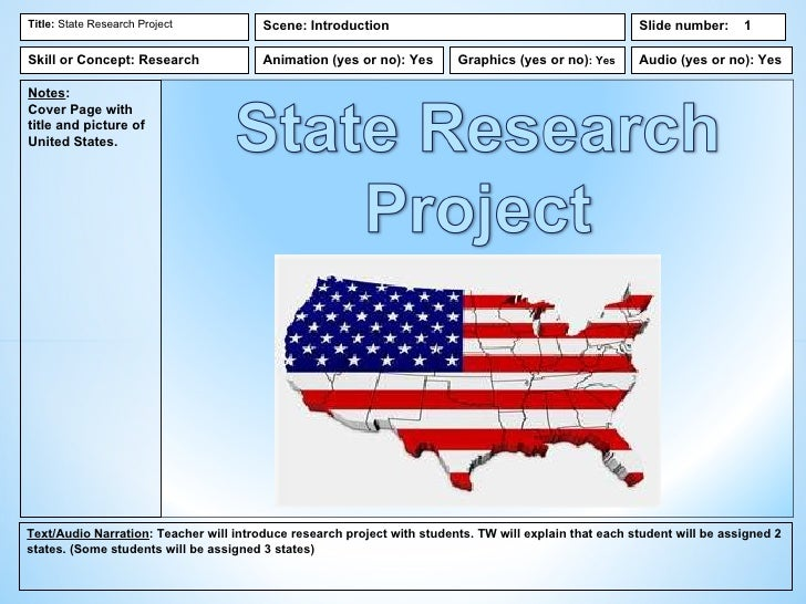 Title: State Research Project           Scene: Introduction                                             Slide number:     ...