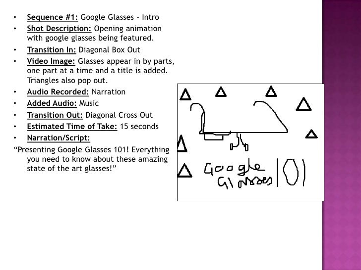 •  Sequence #1: Google Glasses – Intro•  Shot Description: Opening animation   with google glasses being featured.• Transi...