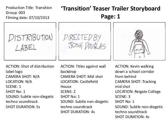 'Transition' Teaser Trailer Storyboard