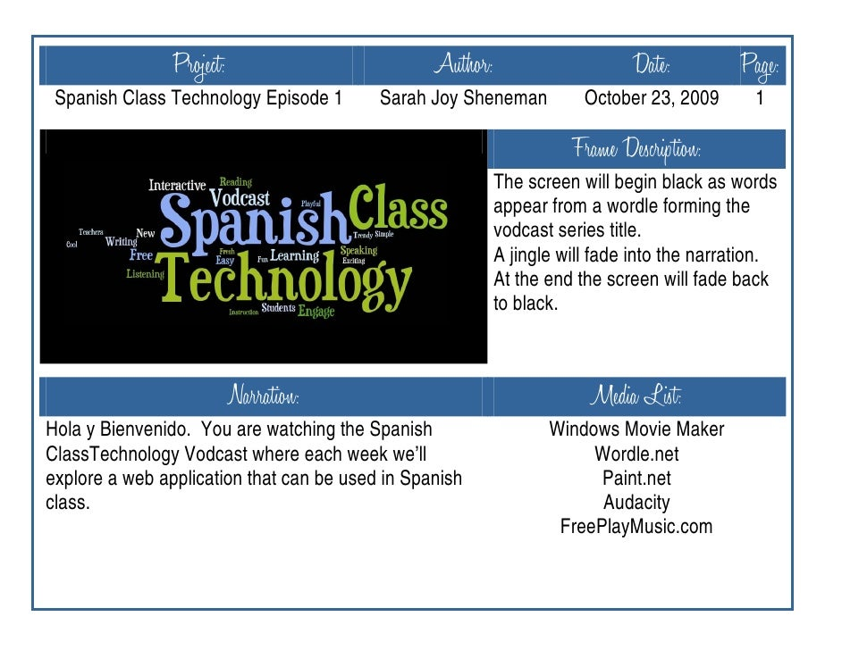 Project:                         Author:                     Date:          Page:  Spanish Class Technology Episode 1     ...