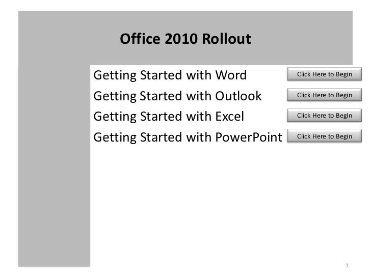 1<br />Getting Started with Word<br />Getting Started with Outlook<br />Getting Started with Excel<br />Getting Started wi...