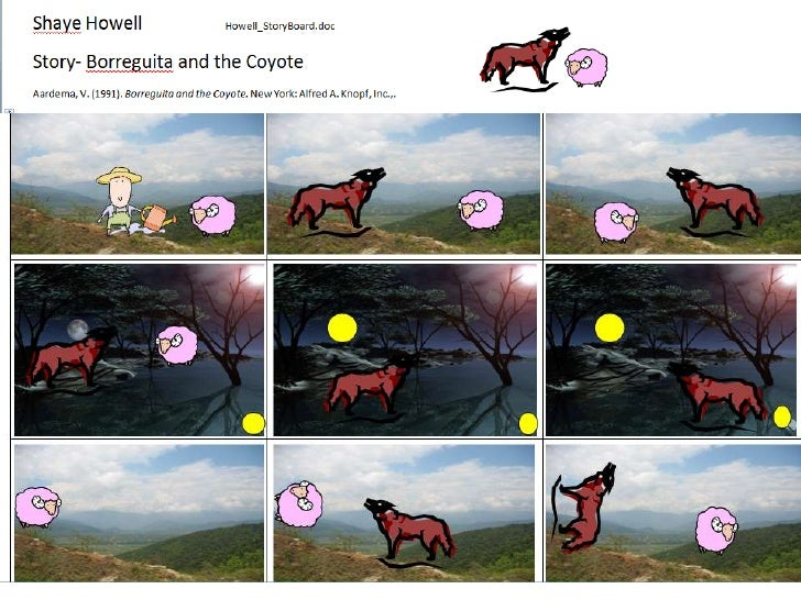 Story Board for Borreguita and the Coyote