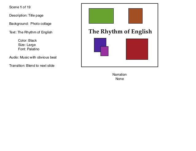 Scene 1 of 19 Description: Title page Background: Photo collage Text: The Rhythm of English   Color: Black   Size: Large  ...