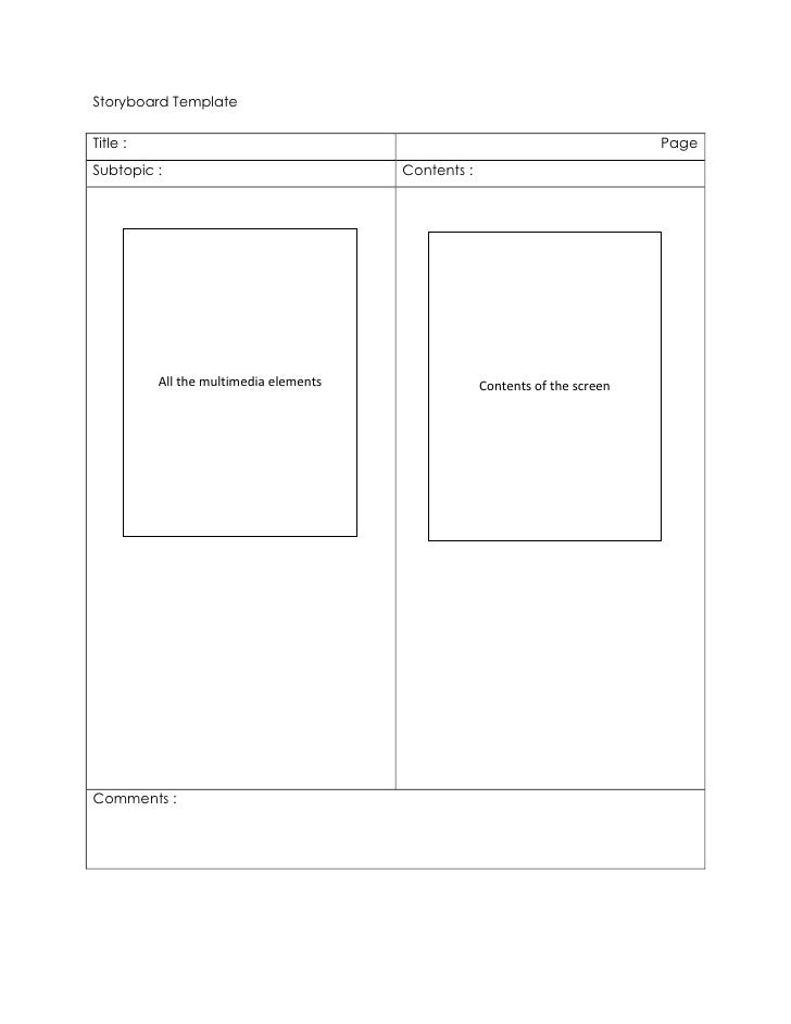 Storyboard Template<br />Title :PageSubtopic :Contents :All the multimedia elementsContents of the screenComments :<br />