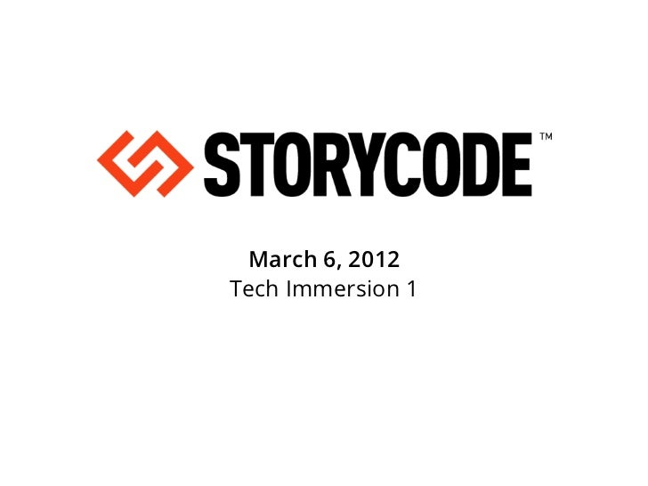 StoryCode Tech Immersion 1