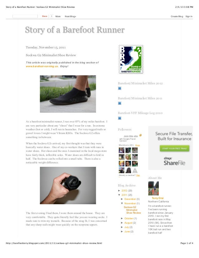 Story of a Barefoot Runner: Sockwa G2 Minimalist Shoe Review                                                              ...