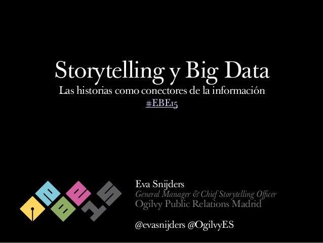 Storytelling y Big Data Las historias como conectores de la información Eva Snijders General Manager & Chief Storytelling ...