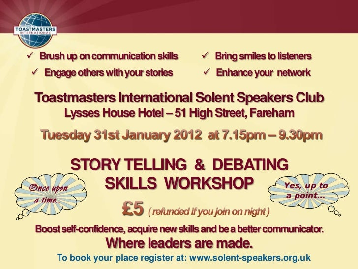  Brush up on communication skills         Bring smiles to listeners  Engage others with your stories          Enhance ...