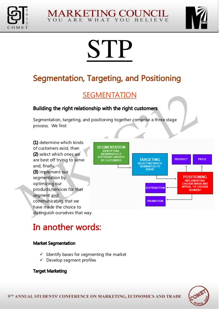 STPSegmentation, Targeting, and Positioning                         SEGMENTATIONBuilding the right relationship with the r...