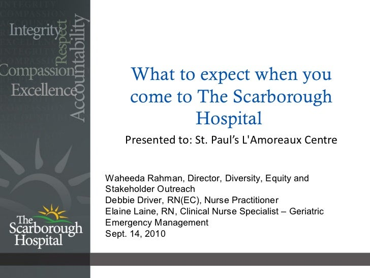 What to expect when you come to The Scarborough Hospital  Presented to: St. Paul's L'Amoreaux Centre  Waheeda Rahman, Dire...