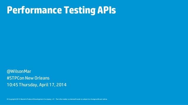 API Performance Testing at STPcon 2014