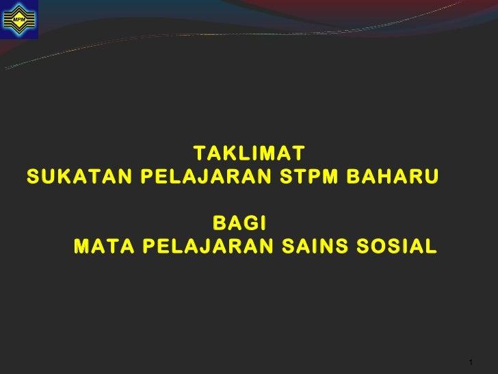 STPM BAHARU : MP SAINS SOSIAL