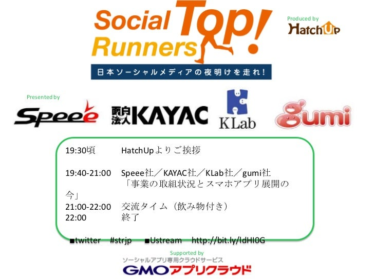 Produced by<br />Presented by<br />19:30頃HatchUpよりご挨拶<br />19:40-21:00Speee社/KAYAC社/KLab社/gumi社<br />「事業の取組状況とスマホアプリ展開の今」<...
