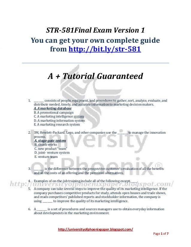 http://universityofphoenixpaper.blogspot.com/ Page 1 of 7 STR-581Final Exam Version 1 You can get your own complete guide ...