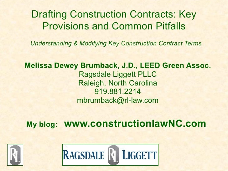 Drafting Construction Contracts: Key   Provisions and Common Pitfalls Understanding & Modifying Key Construction Contract ...