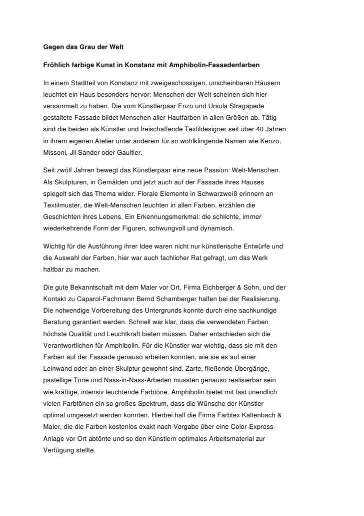 Gegen das Grau der WeltFröhlich farbige Kunst in Konstanz mit Amphibolin-FassadenfarbenIn einem Stadtteil von Konstanz mit...