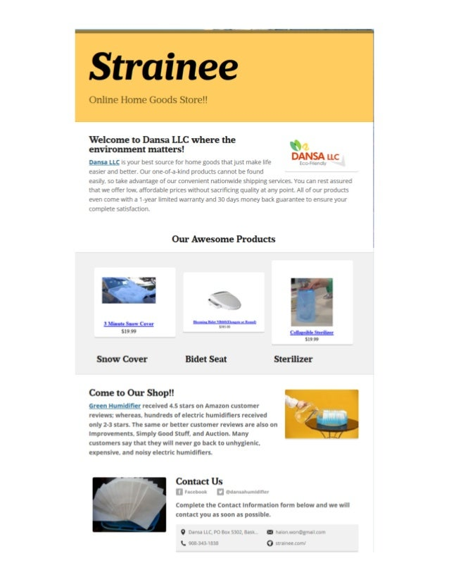 Strainee online home goods store for Online home goods store