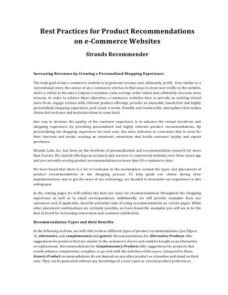 Best	   Practices	   for	   Product	   Recommendations	   	                        on	   e-­Commerce	   Websites	         ...