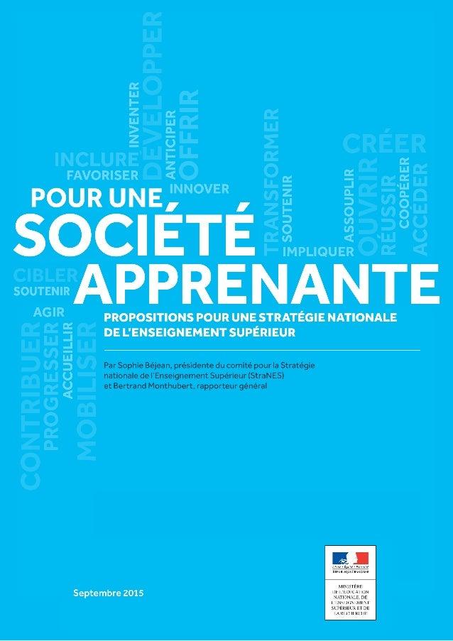 Rapport Rapport à François Hollande, Président de la République, en présence de Najat Vallaud-Belkacem, ministre de l'Éduc...