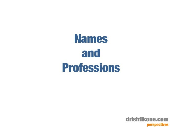 Names and Professions