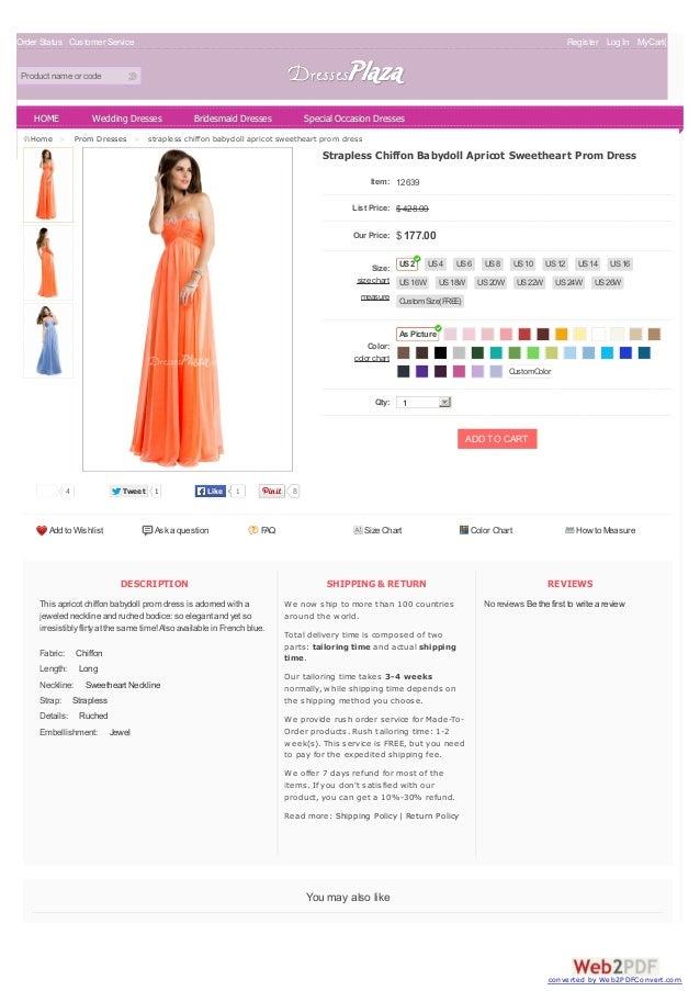 Strapless Chiffon Babydoll Apricot Sweetheart Prom Dress
