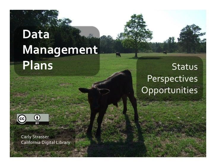 Data Management Plans: Presentation for Data Governance Workshop