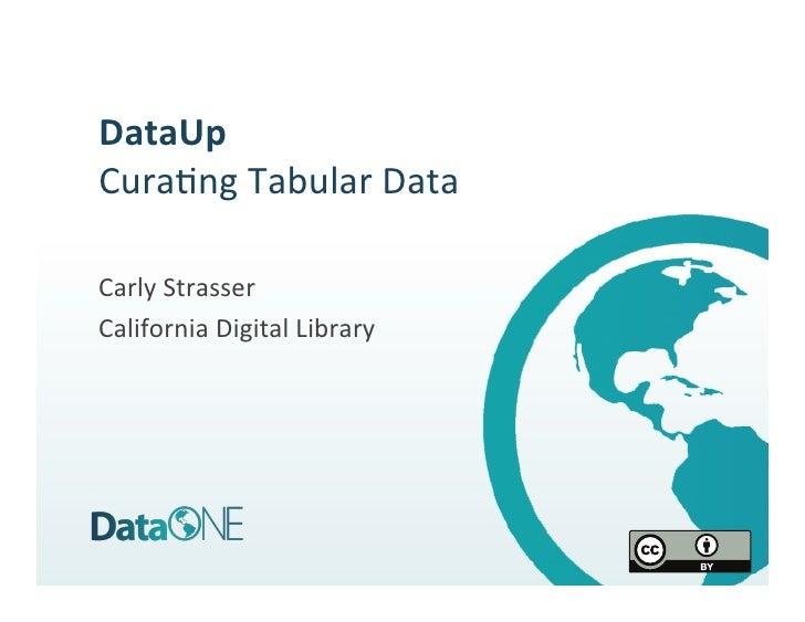 DataUp Cura%ng Tabular Data  Carly Strasser California Digital Library