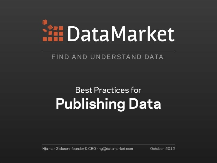 Best Practices for Publishing Data