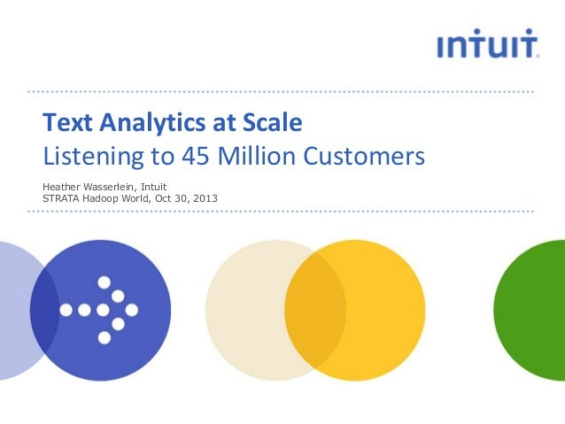 Text Analytics at Scale Listening to 45 Million Customers Heather Wasserlein, Intuit STRATA Hadoop World, Oct 30, 2013