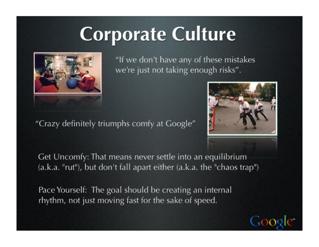 google organizational culture case study The organizational culture can be the key to success and a driver of performance as in the case of google its employee friendliness is the most distinct feature of its culture for years continuously, google has been ranked as one of the best places to work.