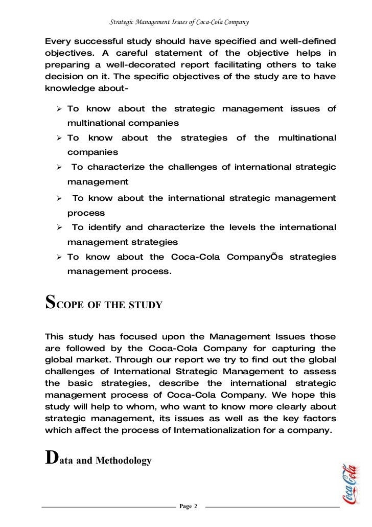coca cola case study marketing management Fund management trading case study: coca-cola the writer is a professor of marketing at imd.