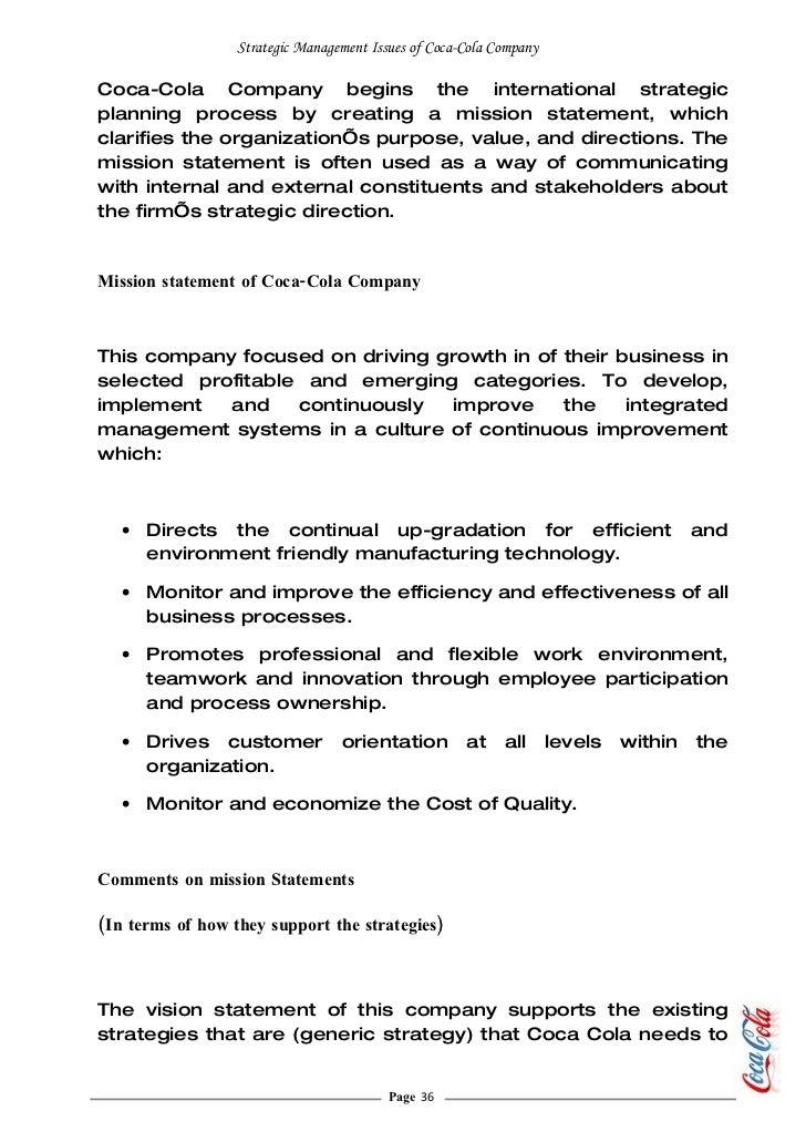 coca cola case study strategic management
