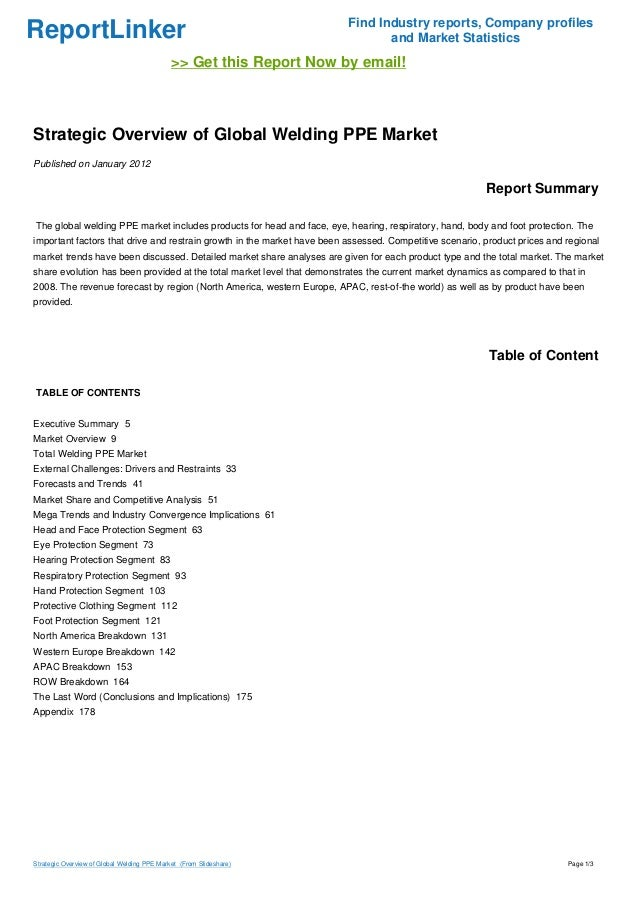 Strategic Overview of Global Welding PPE Market�