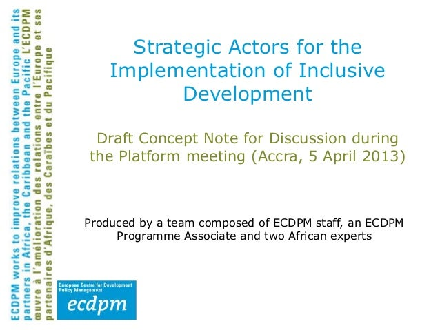 Strategic actors for the implementation of inclusive development