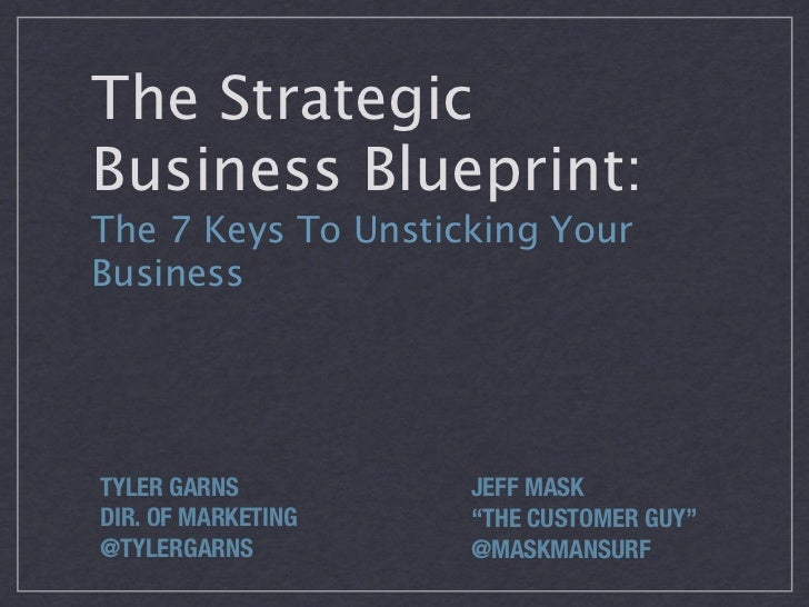 "The StrategicBusiness Blueprint:The 7 Keys To Unsticking YourBusinessTYLER GARNS         JEFF MASKDIR. OF MARKETING   ""THE..."