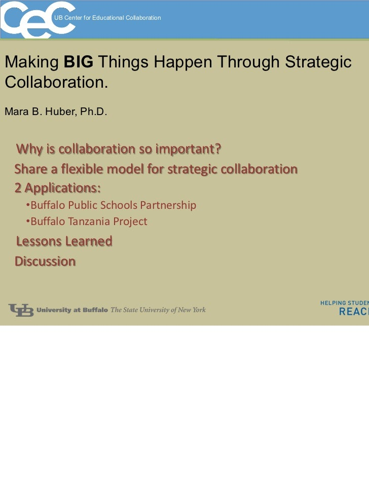 UB Center for Educational CollaborationMaking BIG Things Happen Through StrategicCollaboration.Mara B. Huber, Ph.D. Whyis...