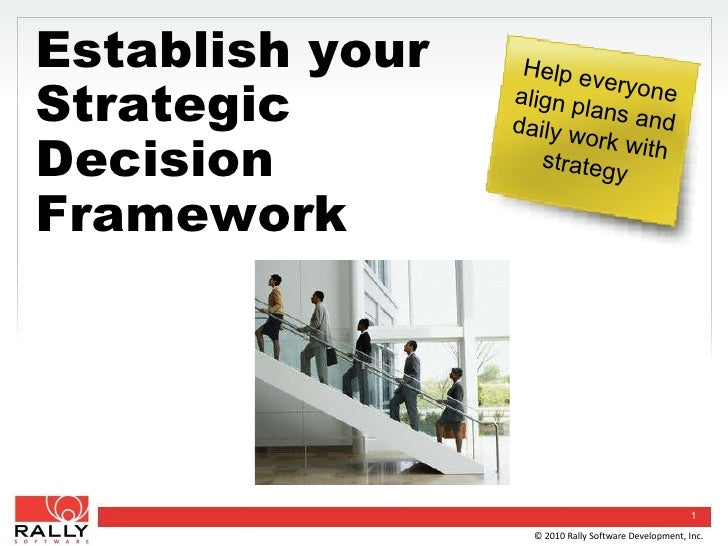 Establish Your Strategic Decision Framework Help everyone align plans and daily work with strategy © 2010 Rally Software D...