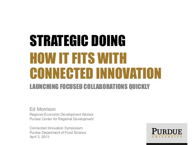 STRATEGIC DOING HOW IT FITS WITH CONNECTED INNOVATION LAUNCHING FOCUSED COLLABORATIONS QUICKLY Ed Morrison Regional Econom...