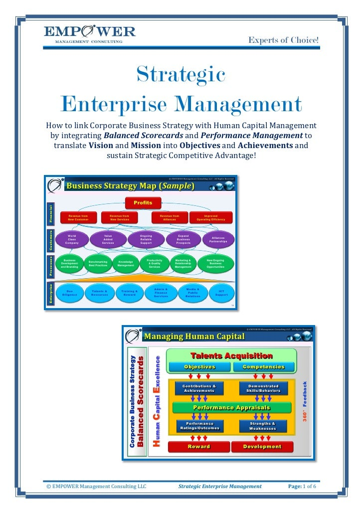 Experts of Choice!                       Strategic              Enterprise Management How to link Corporate Business Strat...