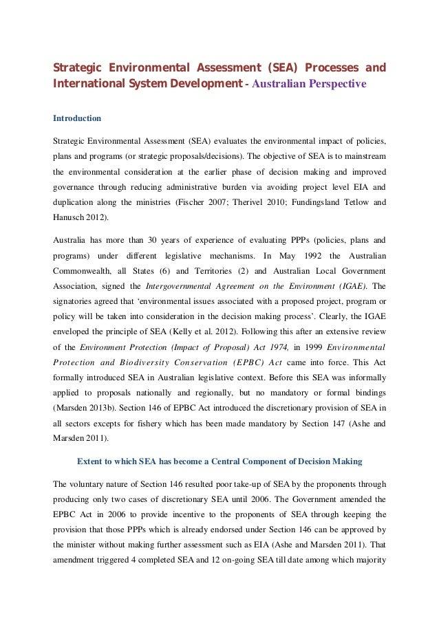 Strategic Environmental Assessment (SEA) Processes and International System Development - Australian Perspective Introduct...